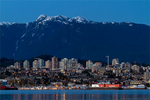 north vancouver below north shore mountains in