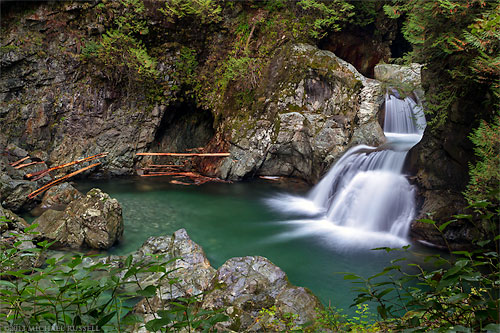 twin falls in lynn canyon park in north vancouver british columbia