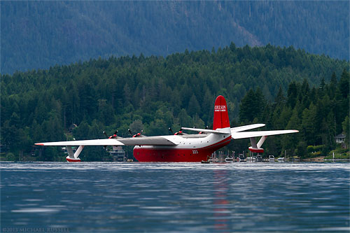 martin mars hawaii water bomber in sproat lake near port alberni british columbia