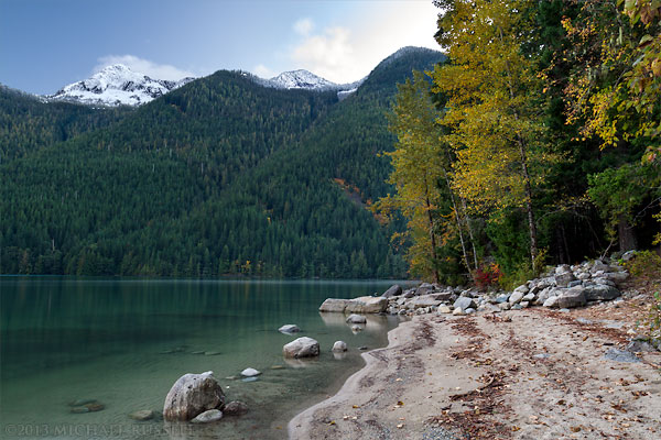 Mount Webb and fall colours at Chilliwack Lake in Chilliwack Lake Provincial Park
