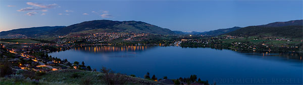Panorama of Kalamalka, Vernon, and Coldstream in the evening