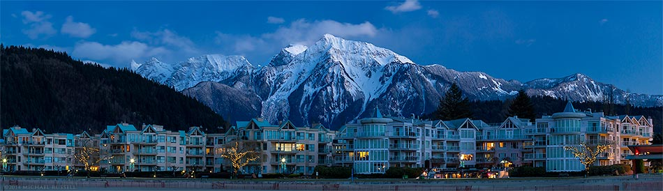harrison hot springs beachfront condos with mount cheam in the background