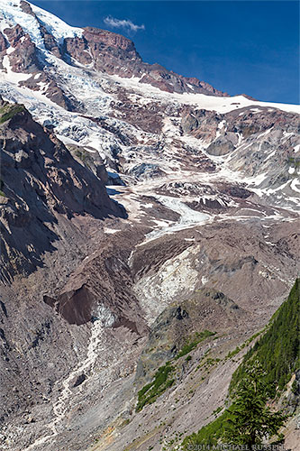 terminus of the nisqually glacier and icefall on mount rainier