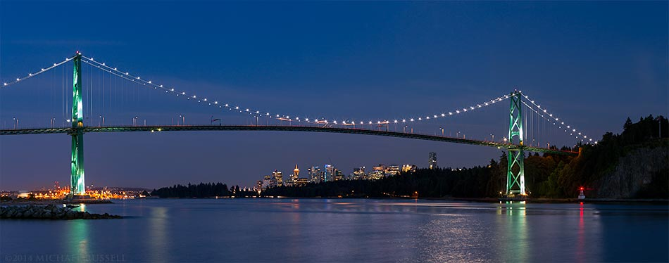lions gate bridge stanley park and downtown vancouver