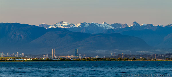 coast mountains and the alex fraser bridge