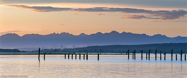 Burnaby and the Northshore Mountains from Blackie Spit in Crescent Beach