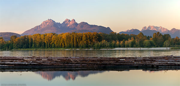 golden ears mountains and the log booms on the fraser river in langley bc