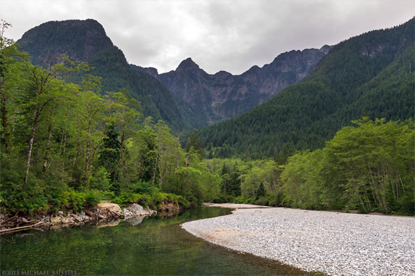emerald green waters of gold creek in golden ears provincial park