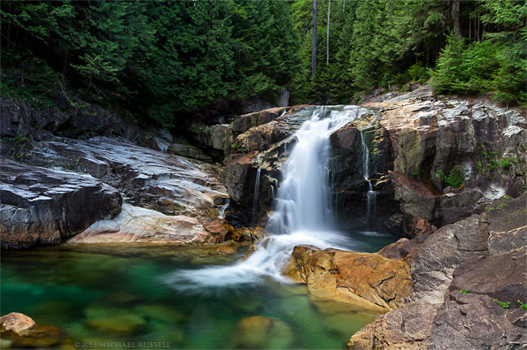 lower falls and emerald pools of gold creek in golden ears provincial park