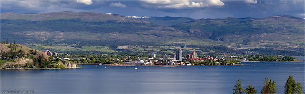 view of kelowna and okanagan lake panorama