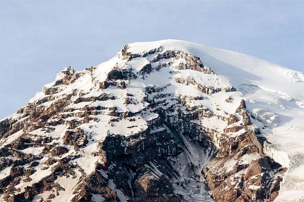 rocky snow and ice on the peak of mount rainier