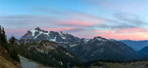 sunset in washingtons north cascades mountains with mount shuksan