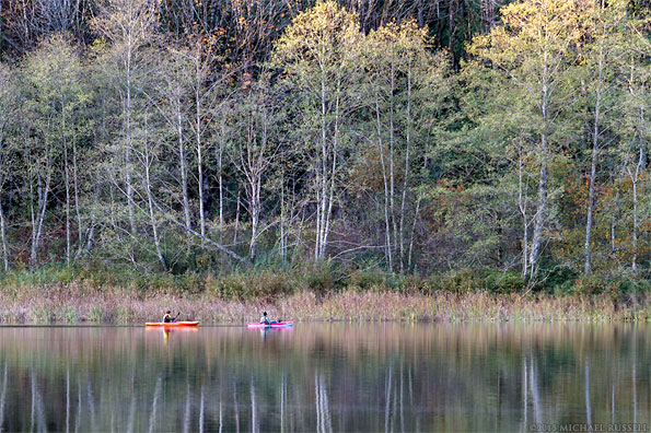 kayaking at deer lake in sasquatch provincial park