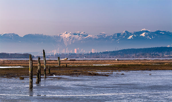 skyline of burnaby behind blackie spit and boundary bay from crescent beach