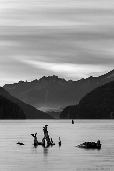 black and white photo harrison lake sunset