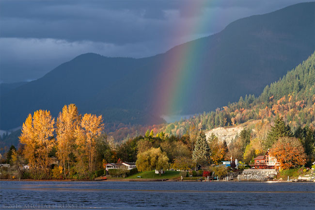 rainbow over hatzic lake in the fall