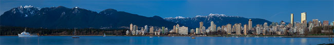 panorama of vancouver and Northshore Mountains from Kits beach