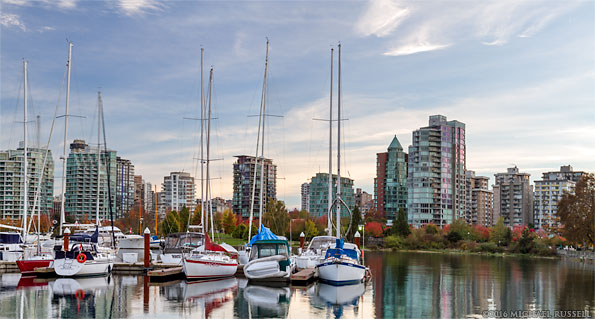 condo and apartment towers in the west end of vancouver from the vancouver rowing club