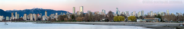 kits beach sunset panorama vancouver city