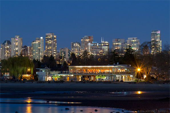 kits beach and the boathouse restaurant at sunset