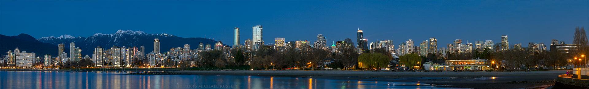 panorama of vancouvers english bay kitsilano and city buildings from kits beach