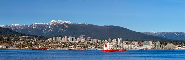 view of north vancouver and mount seymour from downtown vancouver
