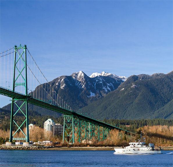 pct renard 58 passing under the Lions Gate Bridge in Vancouver
