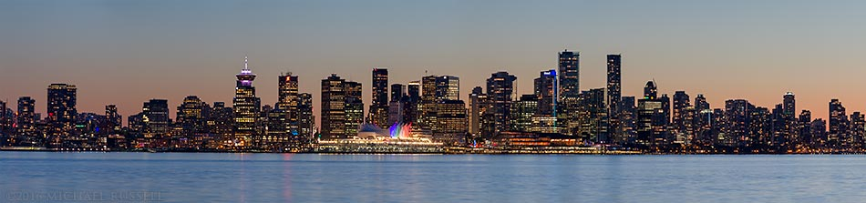 downtown vancouver at sunset photographed from North Vancouver