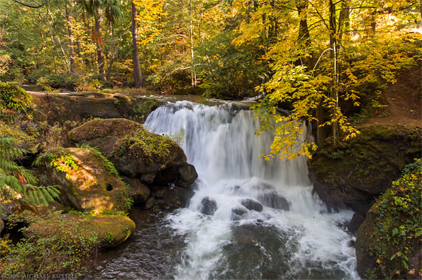 whatcom falls at whatcom falls park in bellingham washington usa