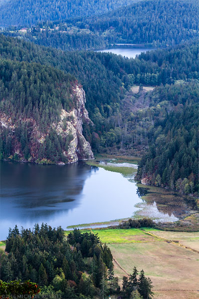 view of rodger bluff and lake campbell on fidalgo island
