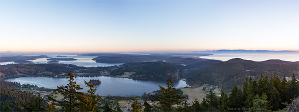 panorama of whidbey island and olympic mountains from mt. erie in anacortes