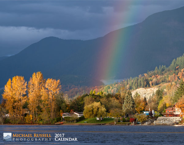 cover for 2017 nature calendar - hatzic lake rainbow