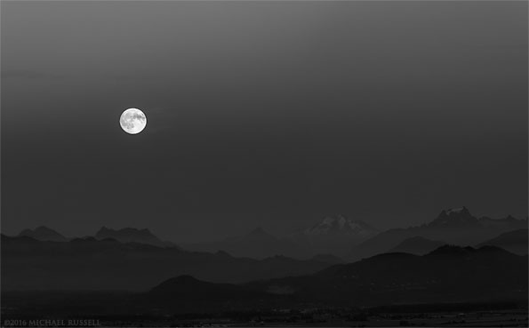 moonrise over the north cascades range in black and white